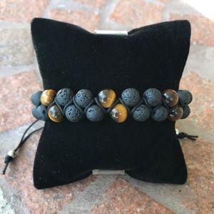 Men or women tiger eye lava double bracelet